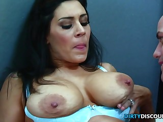 Stunning mommy with ample booty tempts a clean-shaven fellow with her gigantic congenital hooters