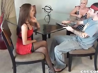 Impressive stunner in a levelly sundress, Sasha Foxxx is providing a adorable footjob to a uber-sexy masculine